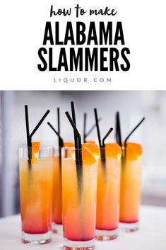 Retro Drinks We Love: The Alabama Slammer Said to be a signature drink of the Alabama Crimson Tide, this mix of Southern Comfort, sloe gin, amaretto and OJ is a classic cocktail perfect for any time of year. Bar Drinks, Cocktail Drinks, Yummy Drinks, Cocktail Recipes, Alcoholic Drinks, Sloe Gin Drinks, Cocktail Amaretto, Amaretto Drinks, Classic Gin Cocktails