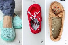 Make and Do Crew free crochet patterns to make slippers with flip flop soles. Child and adult sizes.