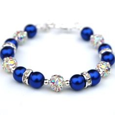 Bridesmaid Jewelry Royal Blue Bling Bracelet Pearl by AMIdesigns, $22.00>> Love this, would wear it for a night out on the town too,nice!!