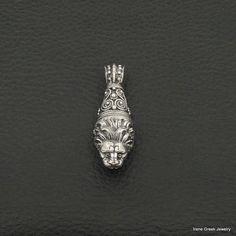 LION HEAD PENDANT BYZANTINE STYLE 925 STERLING SILVER GREEK HANDMADE ART RARE #IreneGreekJewelry #Pendant