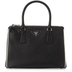 Prada Saffiano Lux Double-Zip Tote Bag ($2,100) ❤ liked on Polyvore featuring bags, handbags, tote bags, purses, totes, сумки, prada handbags, leather tote bags, leather handbags and leather key ring