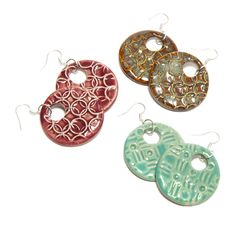 Patterned Clay Earrings : These Patterned Clay Earrings bring sleek modern lines to clay jewelry. Clay Earrings, Clay Jewelry, Crochet Earrings, Fair Trade Jewelry, Pottery Studio, Polymer Clay, Handmade Jewelry, Detail, My Style