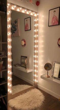 Cute Bedroom Ideas, Cute Room Decor, Room Ideas Bedroom, Girl Bedroom Designs, Teen Room Decor, Girly Bedroom Decor, Bedroom Wall, Neon Bedroom, Dorms Decor