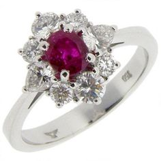 18ct Oval Ruby and Diamond Ring