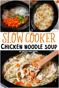 This is the best Slow Cooker Chicken Noodle soup just like grandma used to make! This is a great all-day cooking recipe that is great to come home to. Healthy Crockpot Recipes, Easy Chicken Recipes, Slow Cooker Recipes, Beef Recipes, Soup Recipes, Cooking Recipes, Crockpot Ideas, Crockpot Dishes, Hamburger Recipes