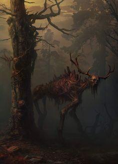 dark fantasy art 1476 by Yuri Hill Monster Concept Art, Monster Art, Monster Drawing, Dark Creatures, Mythical Creatures, Forest Creatures, Creature Concept Art, Creature Design, Arte Horror