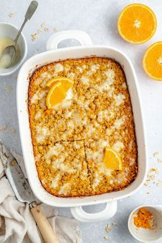 Gorgeous orange baked oatmeal that tastes like an orange creamsicle! It's naturally sweetened and the perfect breakfast or brunch recipe. Brunch Recipes, Breakfast Recipes, Orange Yogurt, Whole Food Recipes, Cooking Recipes, Slow Cooker Breakfast, Dairy Free Yogurt, Spinach Strawberry Salad, Orange Creamsicle