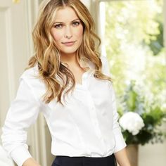 White non-iron semi-fitted shirt | Women's shirts from Charles Tyrwhitt, Jermyn Street, London, size 10, £35