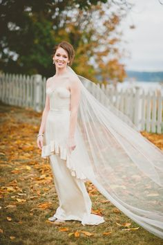 Wedding Gown by Rebecca Cairelli | See more of this beautiful fall wedding on SMP:  http://www.StyleMePretty.com/2014/02/21/fall-hood-canal-vista-pavilion-wedding/ Manchik Photography