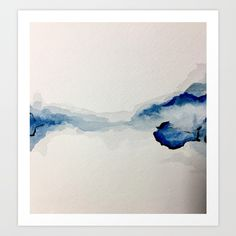 Abstract Blue Watercolor Art Print by sophie_lemieux | Society6