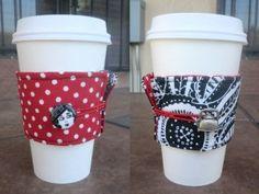 Coffee cup cozy tutorial -- reversible