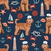 golden doodle nautical fabric - apricot custom fabric by petfriendly for sale on Spoonflower Beach Fabric, Navy Fabric, Doodle Dog, Goldendoodle, Creative Business, Custom Fabric, Spoonflower, Nautical, Craft Projects