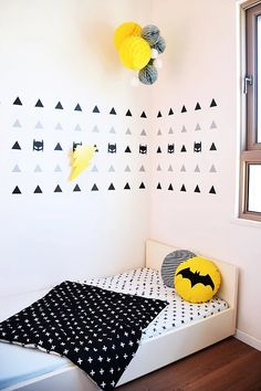 Kids Interior And Decor | Creative Kids Room Design COOL AND EDGY.. Black White and Yellow , BATMAN LIGTNING LAMP and Beautiful kids Graphics.. Design by @kitakids