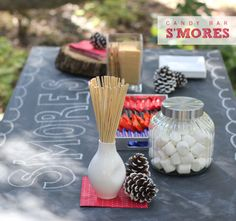 Candy bar s'mores. How fun and delicious! Sure to be a total party hit.