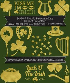 14 Gold Foil St. Patrick's Day Clipart Collection