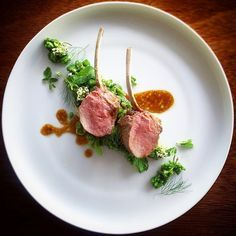 Recipe by PhilClark | Lamb rack seasoned with rosemary and garlic, served with its jus; and a green herb risotto with fresh mint and parsley. | Cookniche, linking the culinary world