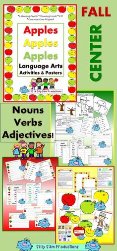 Great FALL CENTER! POSTERS and LANGUAGE ARTS ACTIVITIES! Nouns, Verbs and Adjectives... Sentences Plus Apple Vocabulary and JOHNNY APPLESEED! $