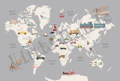 Transports World Map – Little Hands