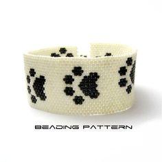 Cat Paw Print Peyote Pattern Cuff Tutorial by TheCrimsonMoon, £3.00