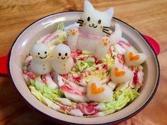 大根おろしアート の 猫鍋 ☆ 猫 - Daikon Oroshi Art - Cat pot 🐱