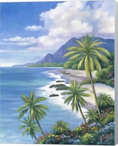 Metaverse Tropical Paradise Ii By John Zaccheo Canvas Art & Reviews - Home - Macy's Easy Landscape Paintings, Easy Paintings, Beach Pink, Jamaica Vacation, Beach Vacations, Big Island Hawaii, Tropical Beaches, Paradise Island, 5d Diamond Painting