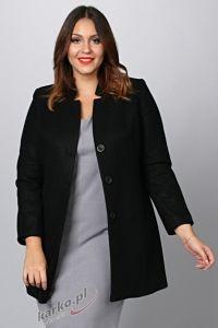 Płaszcz  flauszowy zimowy elegancki stójka czarny