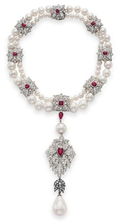 La Peregrina, a natural-pearl necklace with cultured pearls, diamonds, and rubies, 16th century, gift from Richard Burton.  Elizabeth commissioned Cartier to make this spectacular mounting.