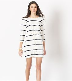 Rope 'em in wearing this nautical-inspired dress. Sleeve Designs, Striped Dress, Fitness Models, Summer Outfits, Dresses For Work, Rompers, Cord, Lady, Long Sleeve