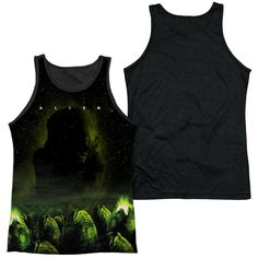 ALIEN/OMINOUS-ADULT POLY TANK TOP BLACK BACK-WHITE-3X