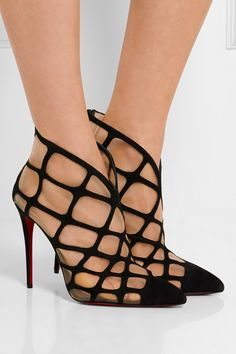 Heel measures approximately 100m/ 4 inches Black suede, sand mesh Zip fastening along back
