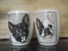 customized mugs hand painted French Bulldog mugs ! Customised Mugs, Porcelain Mugs, Dog Portraits, Chihuahua, French Bulldog, Hand Painted, Dogs, French Bulldog Shedding, Pet Dogs