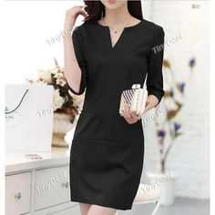 Fashion Spring/Autumn Casual Purity Elegant V-neck Knee-Length Mid Sleeve Dresses for Women DCD-352225