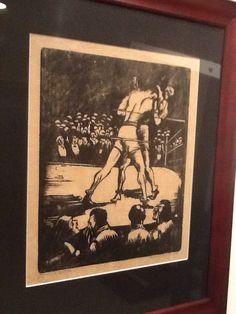"Howard Simon woodcut 1926      ""The Prize Fight"" Boxing Art"