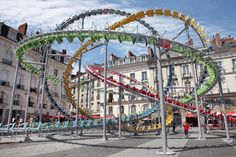 Artist Baptiste Debombourg Creates A Sculpture That Looks Like A Roller Coaster Of Chairs-----Stellar By Baptiste Debombourg