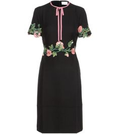 mytheresa.com - Wool and silk dress with appliqué - Luxury Fashion for Women / Designer clothing, shoes, bags