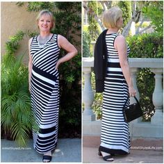 Alternating stripes and asymetrical lines gives the illusion of a waistline, where I don't have one.