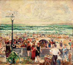 Charles Reiffel (1862 - 1942, American Post-Impressionist))  Holiday, Mission Beach, 1938  Oil on masonite. The Fieldstone Foundation  http://www.latimes.com/entertainment/arts/culture/la-et-cm-knight-reiffel-review-20130120,0,5683059.story