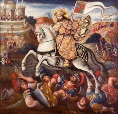 Art Péruvien, Peruvian Art, Catholic Pictures, Colonial Art, Saint Jacques, Arte Popular, Christian Art, Monster, Religious Art