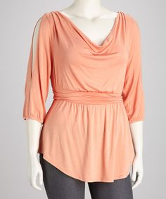 Take a look at this Peach Cayden Cutout Top - Plus by KIYONNA on #zulily today!
