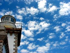 Light House and Blue Sky with White Clouds Fine by GrayTabbyCat, $12.00