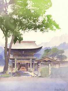 Акварелист Канта Харусаки Japan Watercolor, Watercolor Landscape, Watercolor And Ink, Watercolor Illustration, Landscape Art, Landscape Paintings, Watercolor Paintings, Watercolors, Watercolor Canvas
