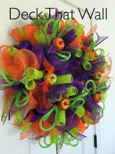 Purple, Orange, And Green Halloween Deco Mesh Wreath