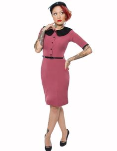 Ruby Collared Stella Wiggle Dress - Unique Vintage