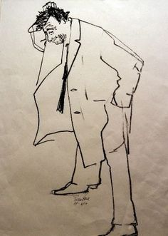 jomtpodcast:  Peter Falk's drawing of himself as Columbo.