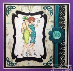 Crafters Companion - EZMount Stamp Set - Frou Frou by Kathleen Francour - Two of a Kind