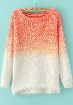 Orange Plain Long Sleeve Sweater