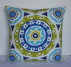 Decorative pillow cover - Suzani - 24 x 24 - throw pillow - accent pillow - indigo blue - turquoise - navy  - chartreuse - aqua. $44.00, via Etsy.
