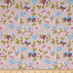 Lewis and Irene So Darling! Blue Birds on Rose Pink 100/% Cotton Fabric