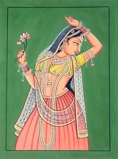 Nayika with Lotus, Large Water Color Painting on Cotton Fabric Pichwai Paintings, Indian Art Paintings, Acrylic Paintings, Tantra Art, Rajasthani Painting, Mehndi Art Designs, Tanjore Painting, Madhubani Art, Indian Folk Art