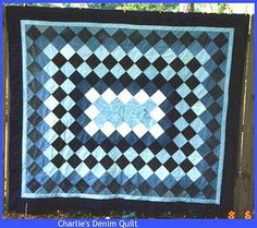 blue jeans - denim quilt gallery - quilters recycle and use up old jeans